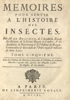 Memoires pour servir a l'histoire des insectes. T. 1-6 /