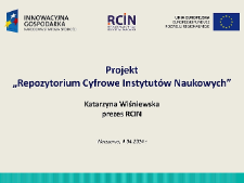 """Projekt """"Repozytorium Cyfrowe Instytutów Naukowych"""""""