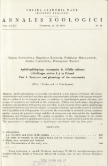Aphid-aphidophage community in Alfalfa cultures (Medicago sativa L.) in Poland. Pt. 1, Structure and phenology of the community
