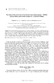 New data on the occurrence of two invasive harvestmen species - Odiellus spinosus (Bosc) and Lacinius dentiger (C. L. Koch) in Poland