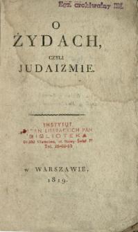 O Żydach czyli judaizmie