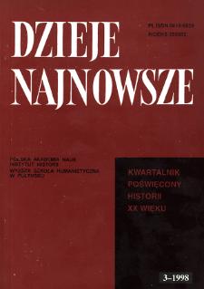 Dzieje Najnowsze : [kwartalnik poświęcony historii XX wieku] R. 30 z. 3 (1998), Strony tytułowe, spis treści