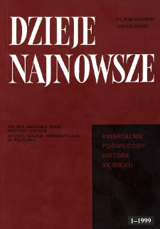 Dzieje Najnowsze : [kwartalnik poświęcony historii XX wieku] R. 31 z. 1 (1999), Title pages, Contents