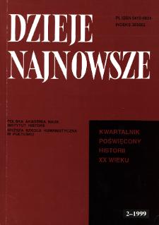 Dzieje Najnowsze : [kwartalnik poświęcony historii XX wieku] R. 31 z. 2 (1999), Title pages, Contents