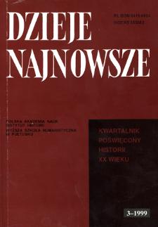 Dzieje Najnowsze : [kwartalnik poświęcony historii XX wieku] R. 31 z. 3 (1999), Title pages, Contents
