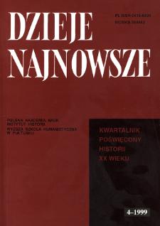 Dzieje Najnowsze : [kwartalnik poświęcony historii XX wieku] R. 31 z. 4 (1999), Strony tytułowe, spis treści
