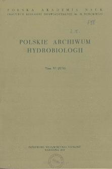 Polskie Archiwum Hydrobiologii, Tom VI (XIX) = Polish Archives of Hydrobiology