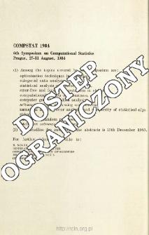 Compstat 1984 - 6th Symposium on Computational Statistics. Prague, 27-31 August, 1984