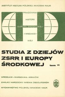 Studia z Dziejów ZSRR i Europy Środkowej. T. 7 (1971), Strony tytułowe, spis treści