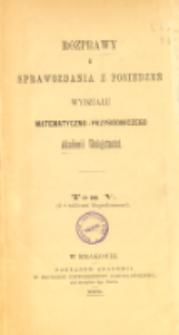 Rozprawy i Sprawozdania z Posiedzeń Wydziału Matematyczno-Przyrodniczego Akademii Umiejętności T. 5 (1878), Table of contents and extras