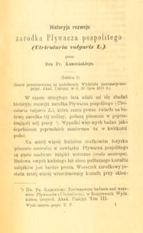 Historyja rozwoju zarodka Pływacza pospolitego (Utricularia vulgaris L)