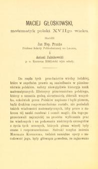 Maciej Głoskowski, matematyk polski XVIIgo wieku