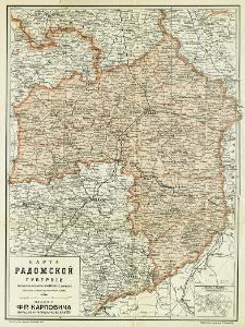 Karta radomskoj gubernii sostovlena soglasno novejšim dannym