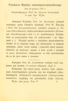 Posiedzenie Wydziału matematyczno-przyrodniczego dnia 20 grudnia 1877 r.