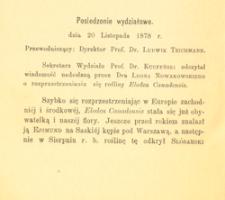 Posiedzenie wydziałowe dnia 20 listopada 1878 r.