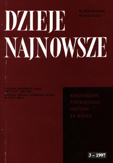 Dzieje Najnowsze : [kwartalnik poświęcony historii XX wieku] R. 29 z. 3 (1997), Listy do redakcji