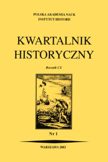 Kwartalnik Historyczny R. 110 nr 1 (2003), Title pages, Contents