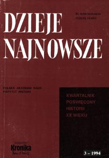 Dzieje Najnowsze : [kwartalnik poświęcony historii XX wieku] R. 26 z. 3 (1994), Strony tytułowe, spis treści
