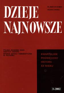Dzieje Najnowsze : [kwartalnik poświęcony historii XX wieku] R. 34 z. 3 (2002), Title pages, Contents