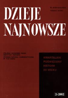 Dzieje Najnowsze : [kwartalnik poświęcony historii XX wieku] R. 34 z. 2 (2002), Title pages, Contents