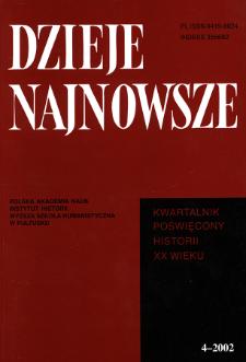 Dzieje Najnowsze : [kwartalnik poświęcony historii XX wieku] R. 34 z. 4 (2002), Title pages, Contents
