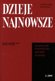 Dzieje Najnowsze : [kwartalnik poświęcony historii XX wieku] R. 40 z. 2 (2008), Strony tytułowe, spis treści