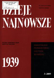 Dzieje Najnowsze : [kwartalnik poświęcony historii XX wieku] R. 41 z. 3 (2009), Strony tytułowe, spis treści