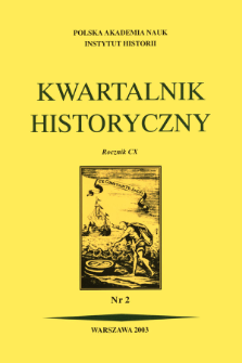 Kwartalnik Historyczny R. 110 nr 2 (2003), Title pages, Contents