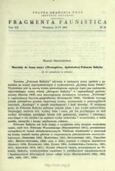 Materiały do fauny mszyc (Homoptera, Aphidodea) Pobrzeża Bałtyku