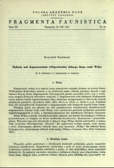 Badania nad skąposzczetami (Oligochaeta) dolnego biegu rzeki Wełny