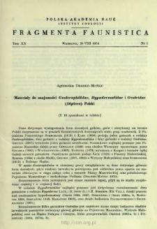 Materiały do znajomości Gasterophilidae, Hypodermatidae i Oestridae (Diptera) Polski