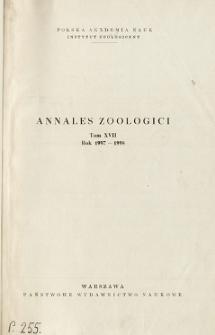 Annales Zoologici ; t. 17 - Spis treści