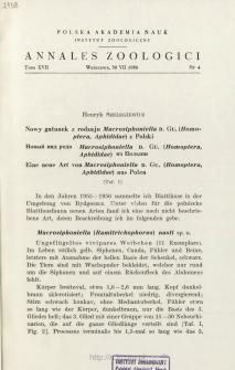 Eine neue Art von Macrosiphoniella D. GU. (Homoptera, Aphididae) aus Polen