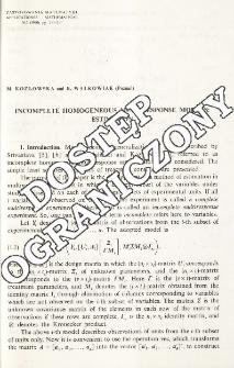 Incomplete homogeneous multiresponse models: estimation