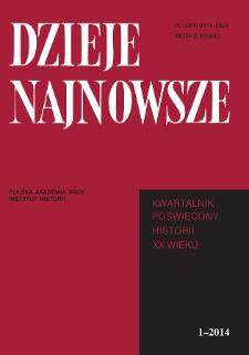 Dzieje Najnowsze : [kwartalnik poświęcony historii XX wieku] R. 46 z. 1 (2014), Strony tytułowe, spis treści