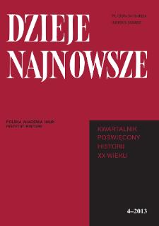 Dzieje Najnowsze : [kwartalnik poświęcony historii XX wieku] R. 45 z. 4 (2013), Title pages, Contents