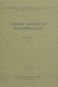 Polskie Archiwum Hydrobiologii, Tom XII (XXV) nr 2 = Polish Archives of Hydrobiology