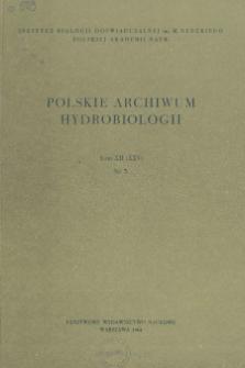 Polskie Archiwum Hydrobiologii, Tom XII (XXV) nr 3 = Polish Archives of Hydrobiology