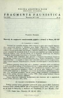 Materiały do znajomości rozmieszczenia pająków (Aranei) w Polsce. Instytut Zoologii. III-VII