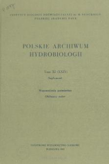 Polskie Archiwum Hydrobiologii, Tom XI (XXIV) Supplement = Polish Archives of Hydrobiology