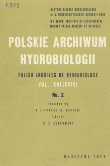 Polskie Archiwum Hydrobiologii, Tom XVI (XXIX) nr 2 = Polish Archives of Hydrobiology