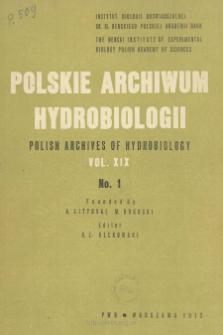 Polskie Archiwum Hydrobiologii, Tom XIX nr 1 = Polish Archives of Hydrobiology