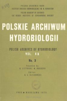 Polskie Archiwum Hydrobiologii, Tom XX nr 3 = Polish Archives of Hydrobiology