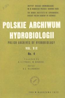 Polskie Archiwum Hydrobiologii, Tom XIX nr 4 = Polish Archives of Hydrobiology