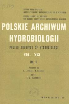 Polskie Archiwum Hydrobiologii, Tom XXI nr 1 = Polish Archives of Hydrobiology