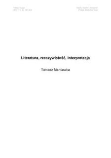 Literatura, rzeczywistość, interpretacja