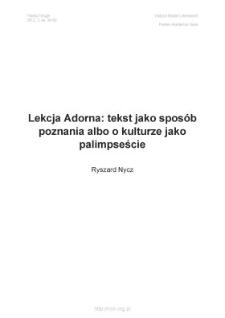 Lekcja Adorna: tekst jako sposób poznania, albo o kulturze jako palimpseście