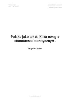 Polska jako tekst. Kilka uwag o charakterze teoretycznym