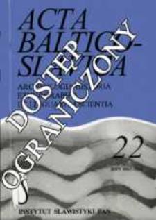 Acta Baltico-Slavica T. 22 (1994)