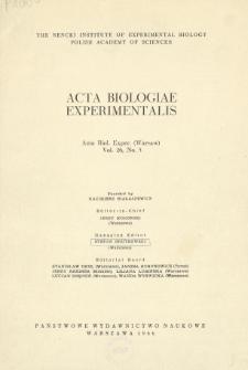 Acta Biologiae Experimentalis. Vol. 26, No 3, 1966